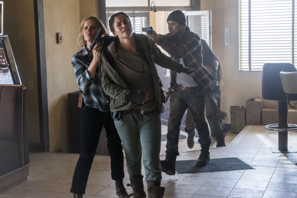 Kim Dickens as Madison Clark, Mercedes Mason as Ofelia Salazar, Justin Rain as Crazy Dog - Fear the Walking Dead _ Season 3, Episode 8 - Photo Credit: Richard Foreman, Jr/AMC