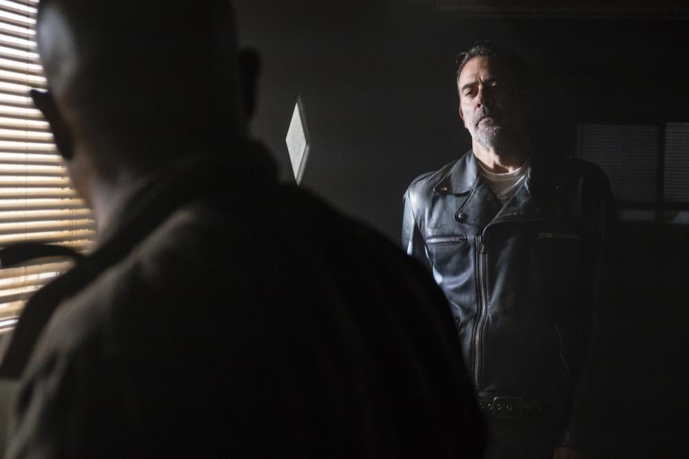 Jeffrey Dean Morgan as Negan, Seth Gilliam as Father Gabriel Stokes- The Walking Dead _ Season 8, Episode 1 - Photo Credit: Gene Page/AMC