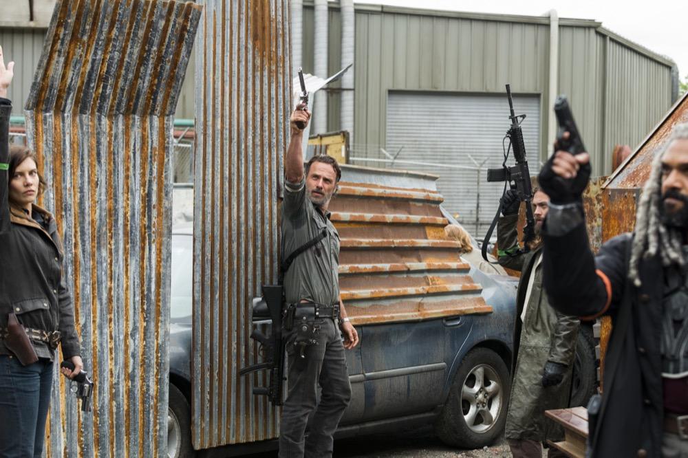 Lauren Cohan as Maggie Greene, Andrew Lincoln as Rick Grimes, Tom Payne as Paul 'Jesus' Rovia, Khary Payton as Ezekiel- The Walking Dead _ Season 8, Episode 1 - Photo Credit: Gene Page/AMC