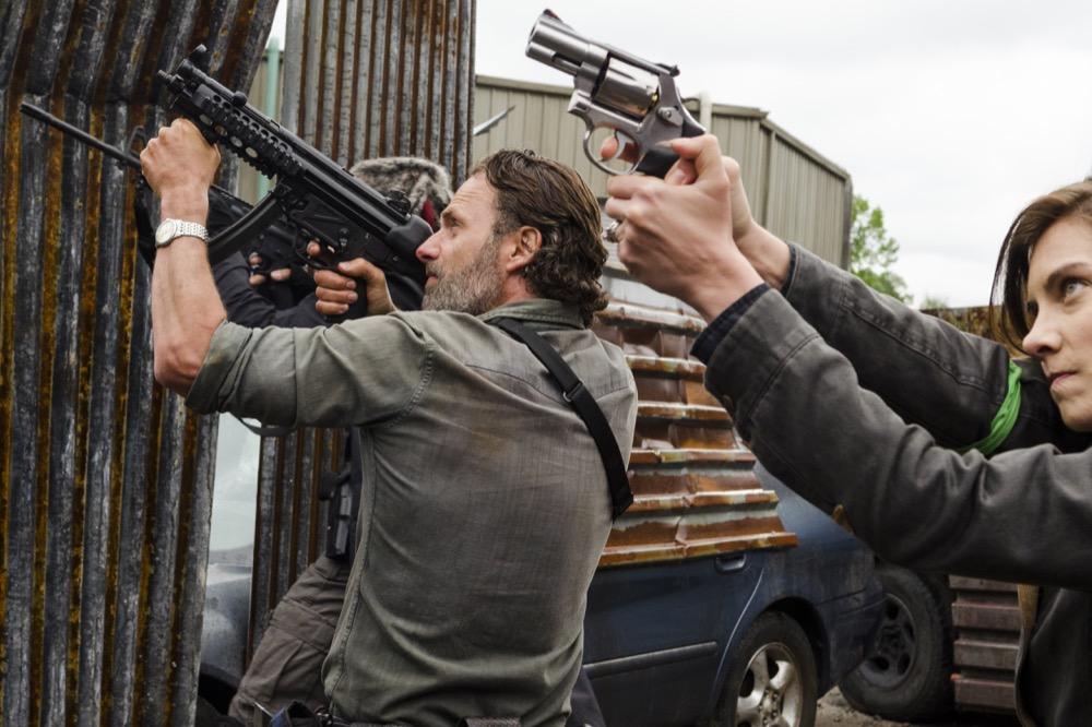 Lauren Cohan as Maggie Greene, Khary Payton as Ezekiel, Andrew Lincoln as Rick Grimes- The Walking Dead _ Season 8, Episode 1 - Photo Credit: Gene Page/AMC