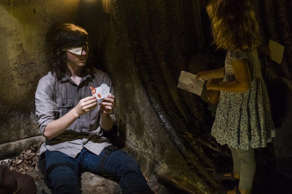 Chandler Riggs as Carl Grimes, Baby Judith- The Walking Dead _ Season 8, Episode 8 - Photo Credit: Gene Page/AMC