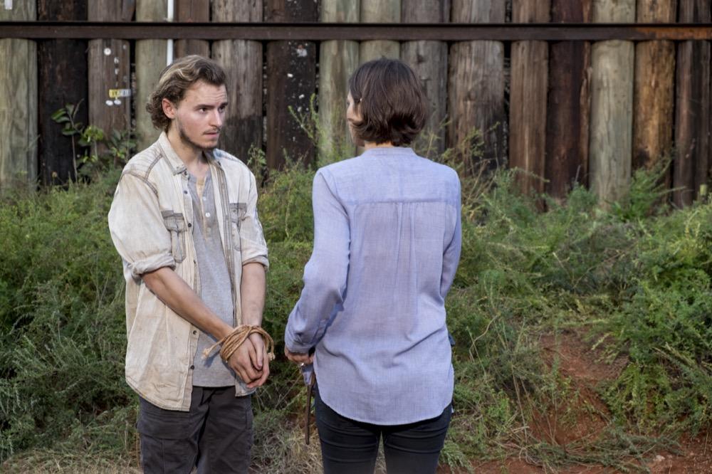 Callan McAuliffe as Alden, Lauren Cohan as Maggie Greene - The Walking Dead _ Season 8, Episode 13 - Photo Credit: Gene Page/AMC